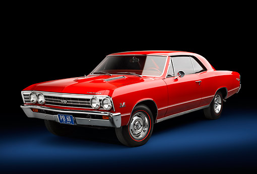 AUT 22 BK0116 01 © Kimball Stock 1967 Chevrolet Chevelle SS Red 3/4 Front View In Studio