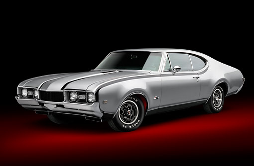 AUT 22 BK0120 01 © Kimball Stock 1968 Oldsmobile Hurst/Olds Silver With Black Stripes 3/4 Front View In Studio