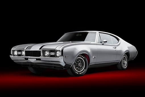 AUT 22 BK0121 01 © Kimball Stock 1968 Oldsmobile Hurst/Olds Silver With Black Stripes 3/4 Front View In Studio