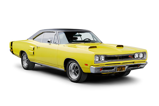 AUT 22 BK0122 01 © Kimball Stock 1969 Dodge Coronet R/T Yellow 3/4 Front View On White Seamless