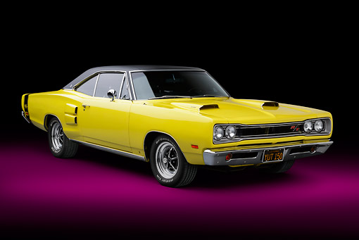 AUT 22 BK0123 01 © Kimball Stock 1969 Dodge Coronet R/T Yellow 3/4 Front View In Studio