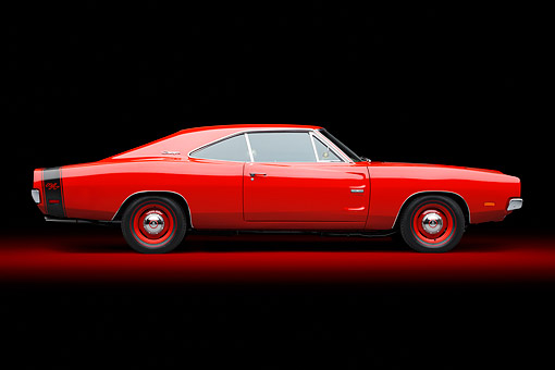 AUT 22 BK0133 01 © Kimball Stock 1969 Dodge Charger R/T Hemi Bright Red Profile View In Studio