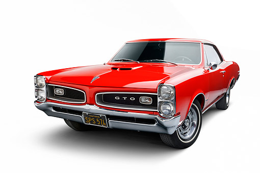 AUT 22 BK0134 01 © Kimball Stock 1966 Pontiac GTO Red 3/4 Front View In Studio