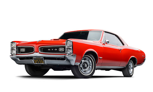 AUT 22 BK0135 01 © Kimball Stock 1966 Pontiac GTO Red 3/4 Front View In Studio
