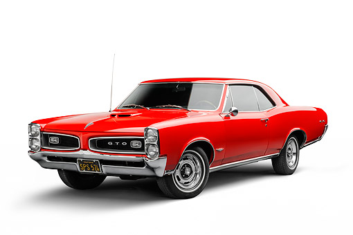 AUT 22 BK0136 01 © Kimball Stock 1966 Pontiac GTO Red 3/4 Front View In Studio
