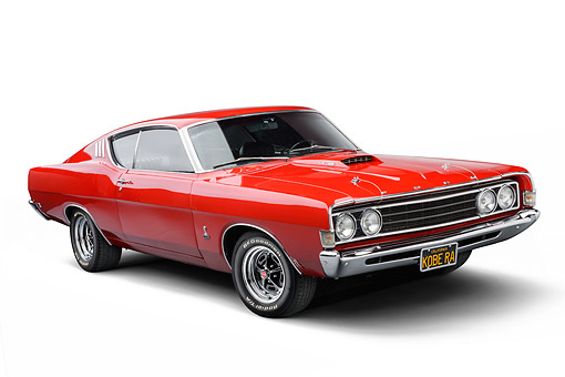 AUT 22 BK0143 01 © Kimball Stock 1969 Ford Torino 428 Cobra Jet Red 3/4 Front View In Studio