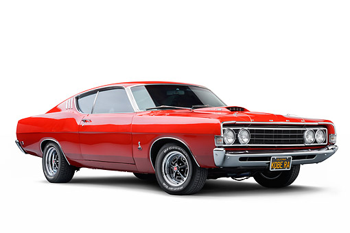 AUT 22 BK0144 01 © Kimball Stock 1969 Ford Torino 428 Cobra Jet Red 3/4 Front View In Studio