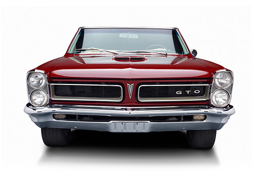 AUT 22 BK0419 01 © Kimball Stock 1965 Pontiac GTO Convertible Maroon Front View In Studio