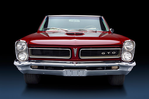 AUT 22 BK0420 01 © Kimball Stock 1965 Pontiac GTO Convertible Maroon Front View In Studio