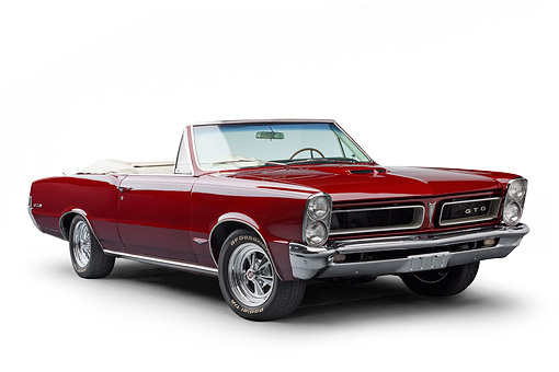 AUT 22 BK0422 01 © Kimball Stock 1965 Pontiac GTO Convertible Maroon 3/4 Front View In Studio