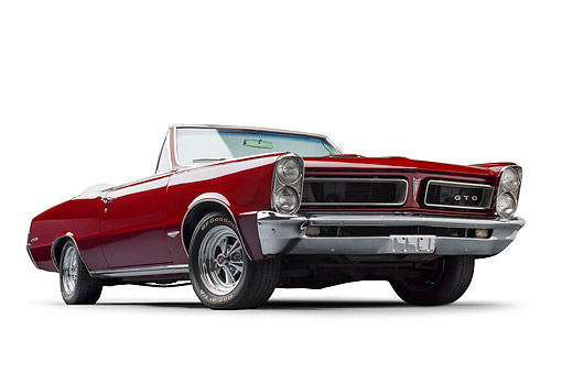 AUT 22 BK0423 01 © Kimball Stock 1965 Pontiac GTO Convertible Maroon Low 3/4 Front View In Studio