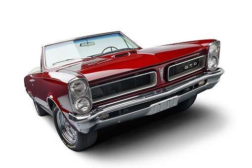 AUT 22 BK0424 01 © Kimball Stock 1965 Pontiac GTO Convertible Maroon Low 3/4 Front View In Studio