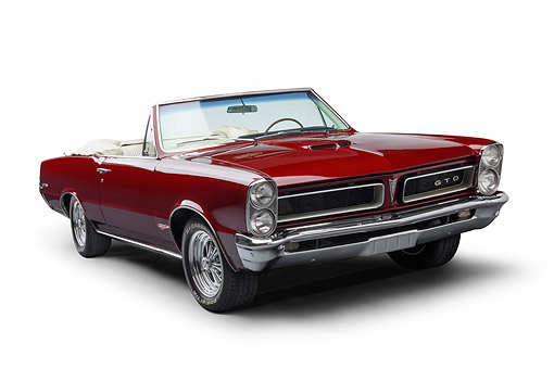 AUT 22 BK0425 01 © Kimball Stock 1965 Pontiac GTO Convertible Maroon 3/4 Front View In Studio