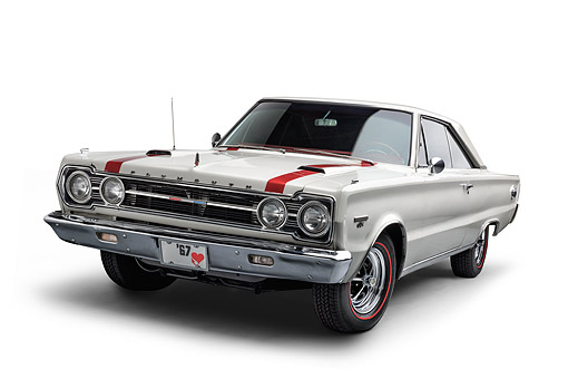 AUT 22 BK0441 01 © Kimball Stock 1967 Plymouth GTX 3/4 Front View In Studio