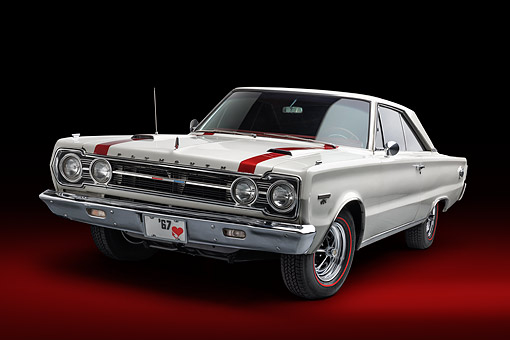 AUT 22 BK0442 01 © Kimball Stock 1967 Plymouth GTX 3/4 Front View In Studio