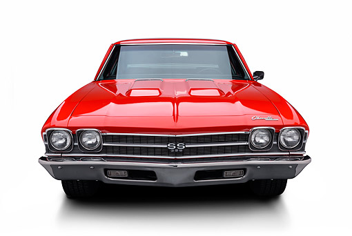 AUT 22 BK0453 01 © Kimball Stock 1969 Chevrolet Chevelle SS 396 Red Front View In Studio