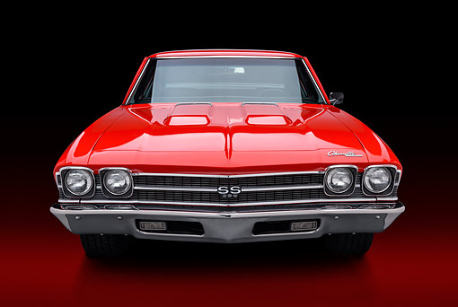 AUT 22 BK0454 01 © Kimball Stock 1969 Chevrolet Chevelle SS 396 Red Front View In Studio