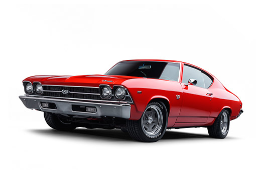 AUT 22 BK0462 01 © Kimball Stock 1969 Chevrolet Chevelle SS 396 Red 3/4 Front View In Studio