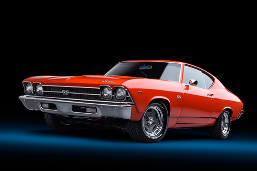AUT 22 BK0464 01 © Kimball Stock 1969 Chevrolet Chevelle SS 396 Orange 3/4 Front View In Studio