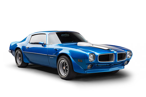 AUT 22 BK0465 01 © Kimball Stock 1970 1/2 Pontiac Trans Am Blue 3/4 Front View In Studio