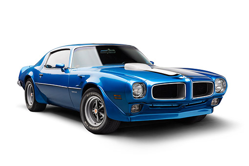 AUT 22 BK0467 01 © Kimball Stock 1970 1/2 Pontiac Trans Am Blue 3/4 Front View In Studio