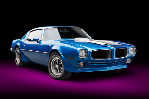 AUT 22 BK0468 01 © Kimball Stock 1970 1/2 Pontiac Trans Am Blue 3/4 Front View In Studio