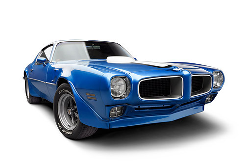 AUT 22 BK0469 01 © Kimball Stock 1970 1/2 Pontiac Trans Am Blue Low 3/4 Front View In Studio