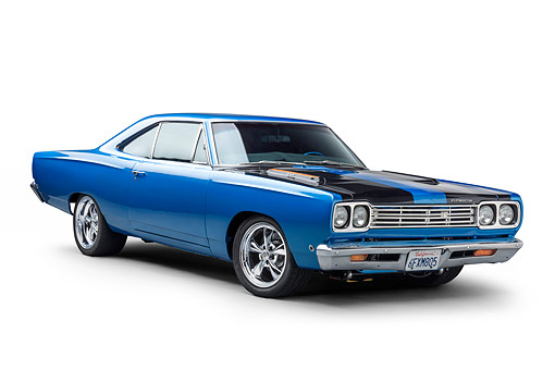 AUT 22 BK0471 01 © Kimball Stock 1968 Plymouth Road Runner 440 Blue 3/4 Front View In Studio