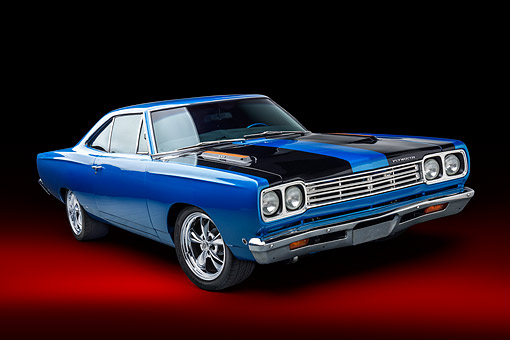 AUT 22 BK0473 01 © Kimball Stock 1968 Plymouth Road Runner 440 Blue 3/4 Front View In Studio