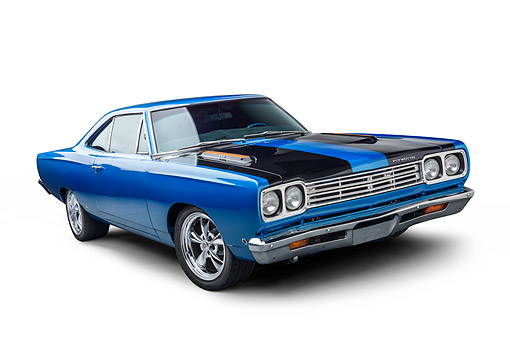 AUT 22 BK0474 01 © Kimball Stock 1968 Plymouth Road Runner 440 Blue 3/4 Front View In Studio