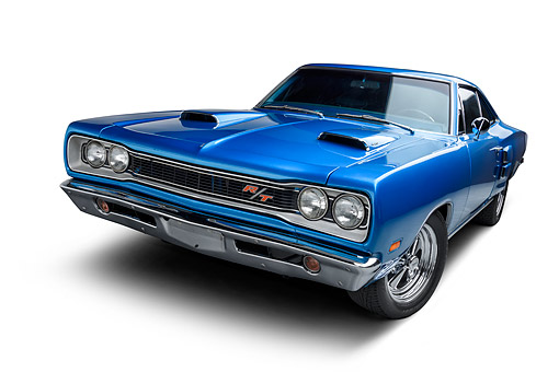 AUT 22 BK0475 01 © Kimball Stock 1968 Plymouth Road Runner 440 Blue 3/4 Front View Wide In Studio