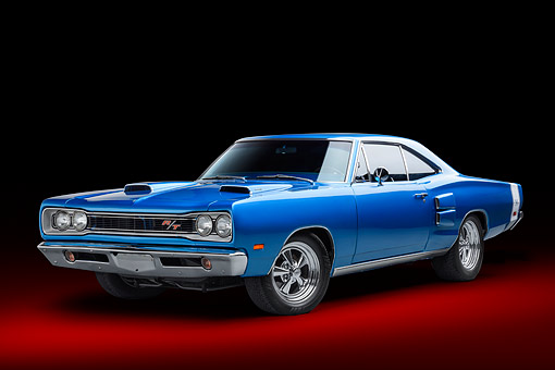 AUT 22 BK0476 01 © Kimball Stock 1968 Plymouth Road Runner 440 Blue 3/4 Front View In Studio