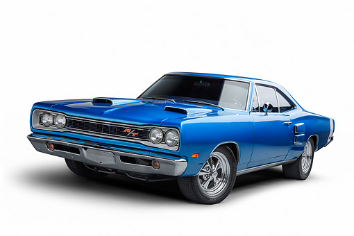 AUT 22 BK0479 01 © Kimball Stock 1968 Plymouth Road Runner 440 Blue 3/4 Front View In Studio