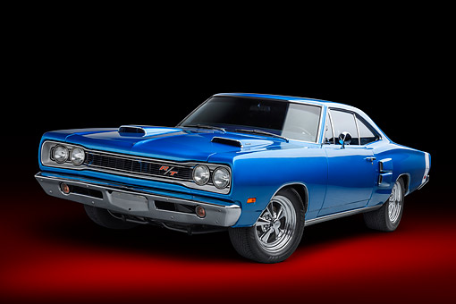AUT 22 BK0480 01 © Kimball Stock 1968 Plymouth Road Runner 440 Blue 3/4 Front View In Studio