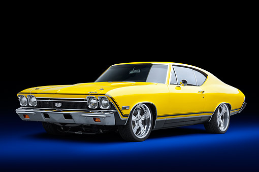 AUT 22 BK0493 01 © Kimball Stock 1968 Chevrolet Chevelle SS 396 Sport Coupe Yellow 3/4 Front View In Studio