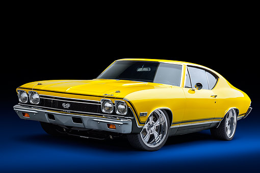 AUT 22 BK0494 01 © Kimball Stock 1968 Chevrolet Chevelle SS 396 Sport Coupe Yellow 3/4 Front View In Studio