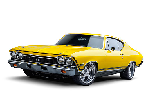 AUT 22 BK0495 01 © Kimball Stock 1968 Chevrolet Chevelle SS 396 Sport Coupe Yellow 3/4 Front View In Studio