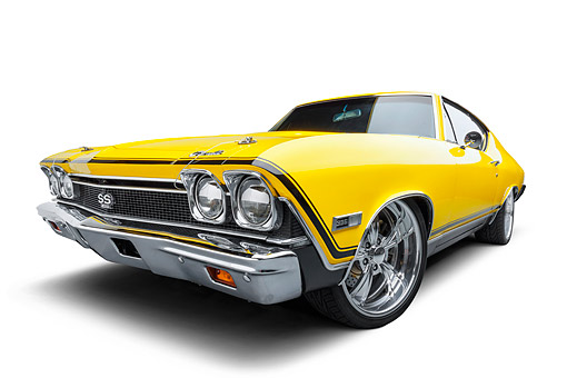 AUT 22 BK0496 01 © Kimball Stock 1968 Chevrolet Chevelle SS 396 Sport Coupe Yellow 3/4 Front View Wide In Studio