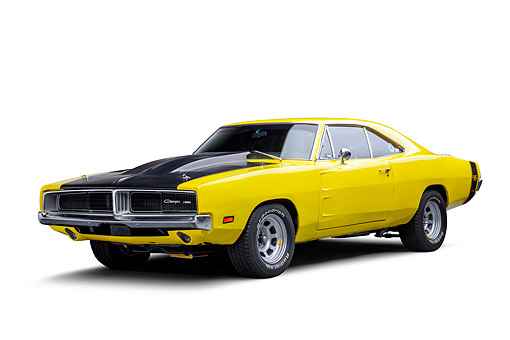 AUT 22 BK0498 01 © Kimball Stock 1969 Dodge Charger R/T Custom 440 Magnum Engine Yellow 3/4 Front View In Studio
