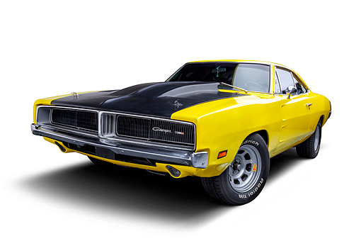 AUT 22 BK0499 01 © Kimball Stock 1969 Dodge Charger R/T Custom 440 Magnum Engine Yellow 3/4 Front View Wide In Studio