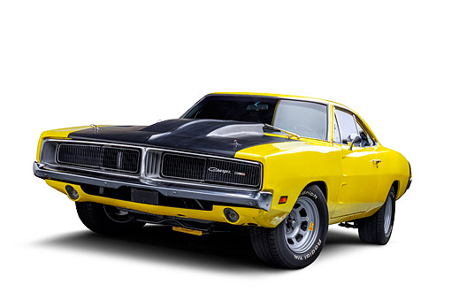 AUT 22 BK0500 01 © Kimball Stock 1969 Dodge Charger R/T Custom 440 Magnum Engine Yellow 3/4 Front View Wide In Studio