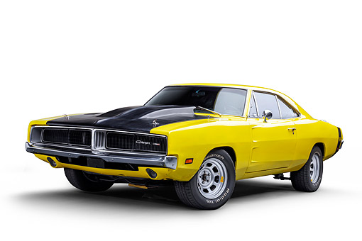 AUT 22 BK0501 01 © Kimball Stock 1969 Dodge Charger R/T Custom 440 Magnum Engine Yellow 3/4 Front View Wide In Studio