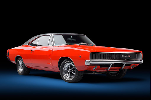 AUT 22 BK0531 01 © Kimball Stock 1968 Dodge Charger R/T Red 3/4 Front View In Studio