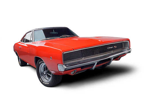 AUT 22 BK0533 01 © Kimball Stock 1968 Dodge Charger R/T Red Wide 3/4 Front View In Studio