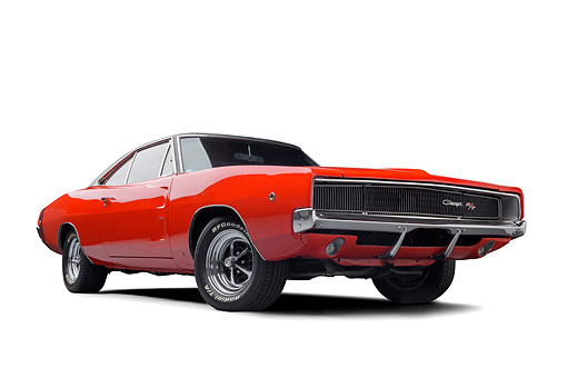 AUT 22 BK0534 01 © Kimball Stock 1968 Dodge Charger R/T Red Low 3/4 Front View In Studio