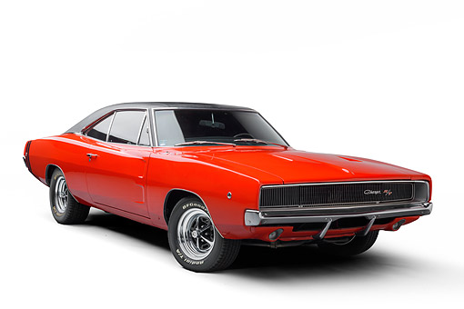 AUT 22 BK0535 01 © Kimball Stock 1968 Dodge Charger R/T Red 3/4 Front View In Studio