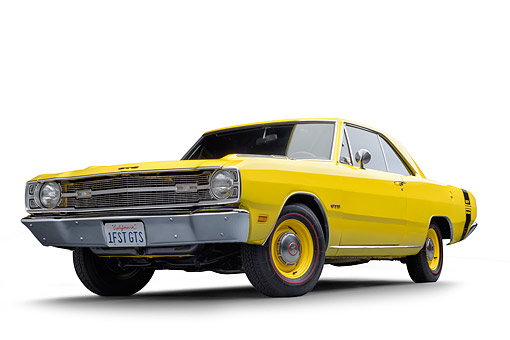 AUT 22 BK0536 01 © Kimball Stock 1969 Dodge Dart GTS 383 Sunfire Yellow 3/4 Front View In Studio
