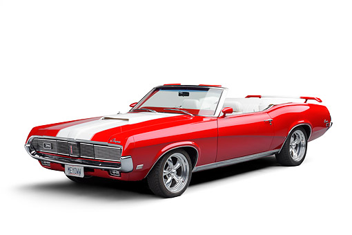AUT 22 BK0540 01 © Kimball Stock 1969 Mercury Cougar XR-7 Convertible Red And White 3/4 Front View In Studio