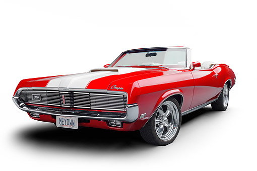 AUT 22 BK0541 01 © Kimball Stock 1969 Mercury Cougar XR-7 Convertible Red And White Wide 3/4 Front View In Studio