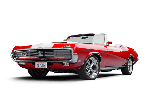 AUT 22 BK0542 01 © Kimball Stock 1969 Mercury Cougar XR-7 Convertible Red And White Low 3/4 Front View In Studio